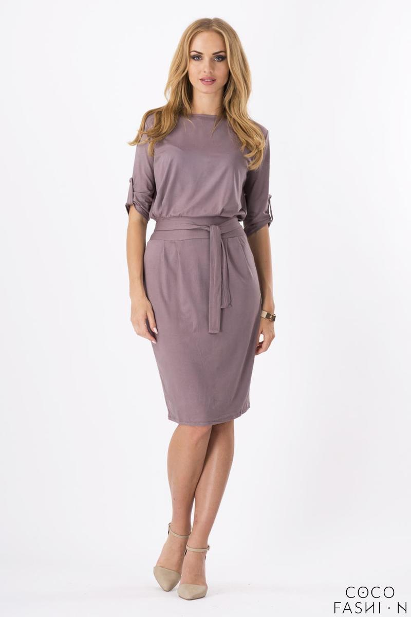 Cappuccino Brown Casual Self Tie Belt and Rolled-up Sleeves Dress