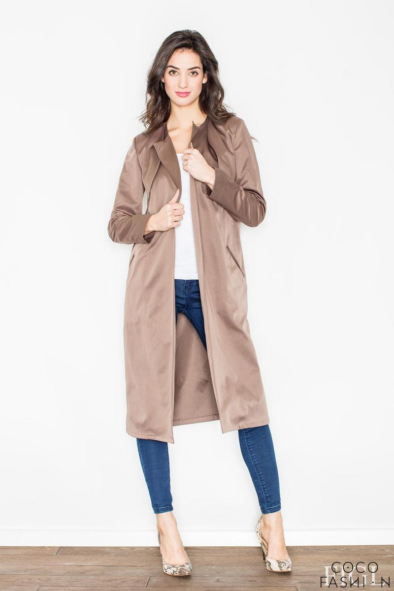 Brown Elegant Trench Coat with Self Tie Belt