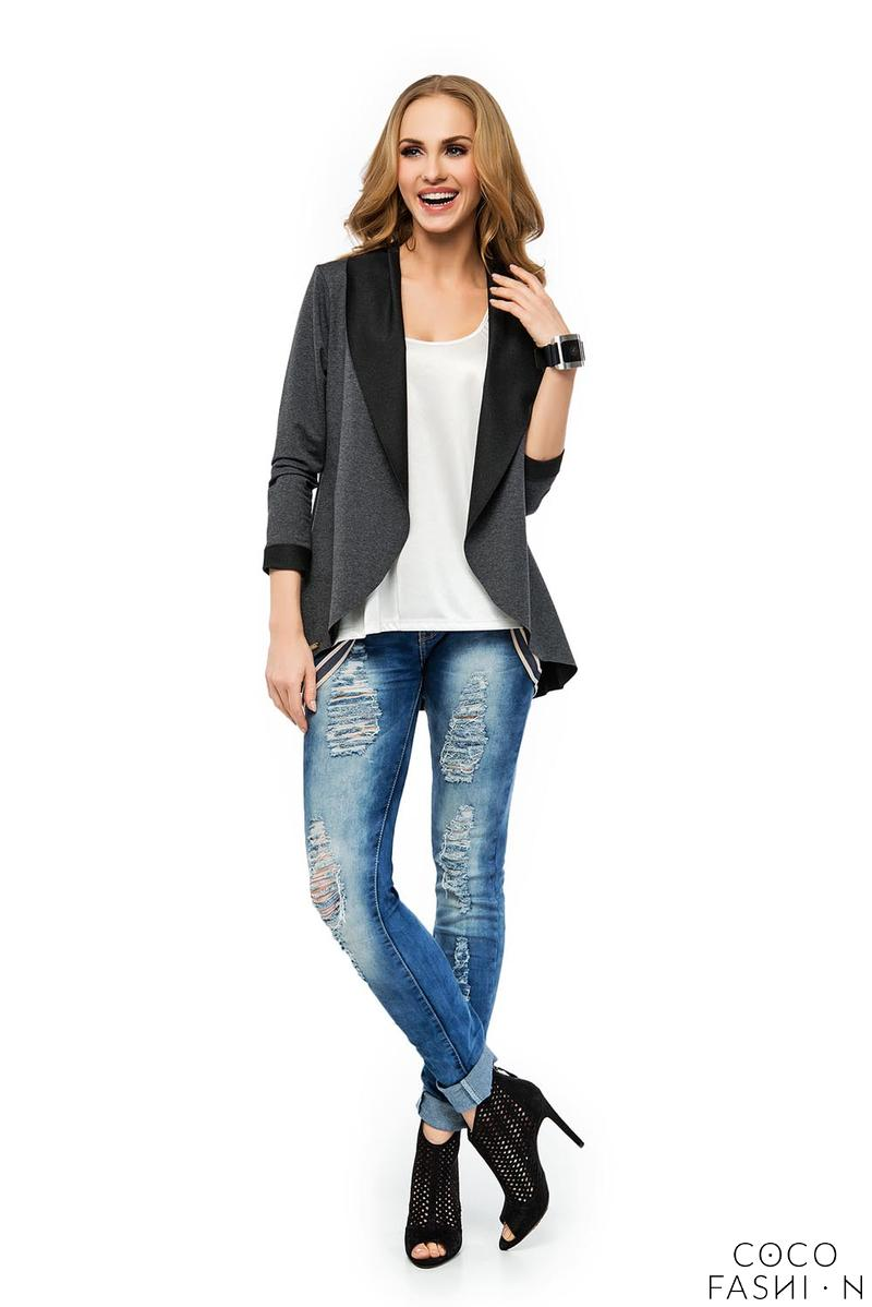 Dark Grey Stylish Loose Lapels Cardigan Blazer