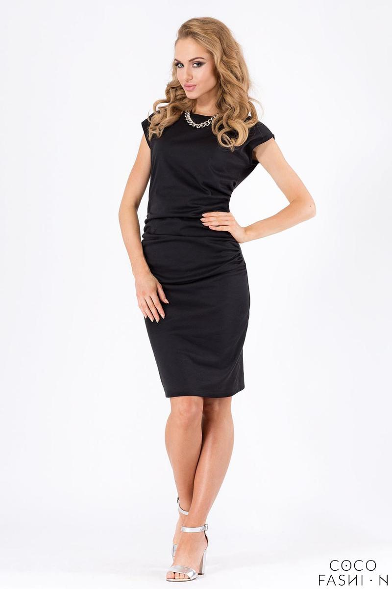 Black Wrinkled Knee Lenght Short Sleeves Dress