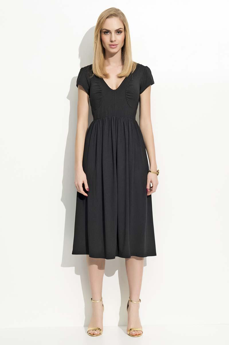 Black Wrinkled Midi Dress