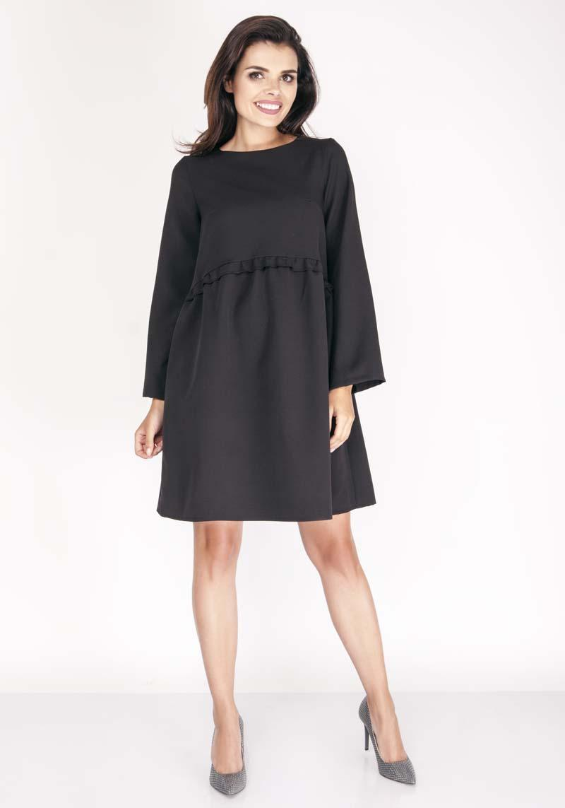 Black Flared Dress with Litlle Waist Frill
