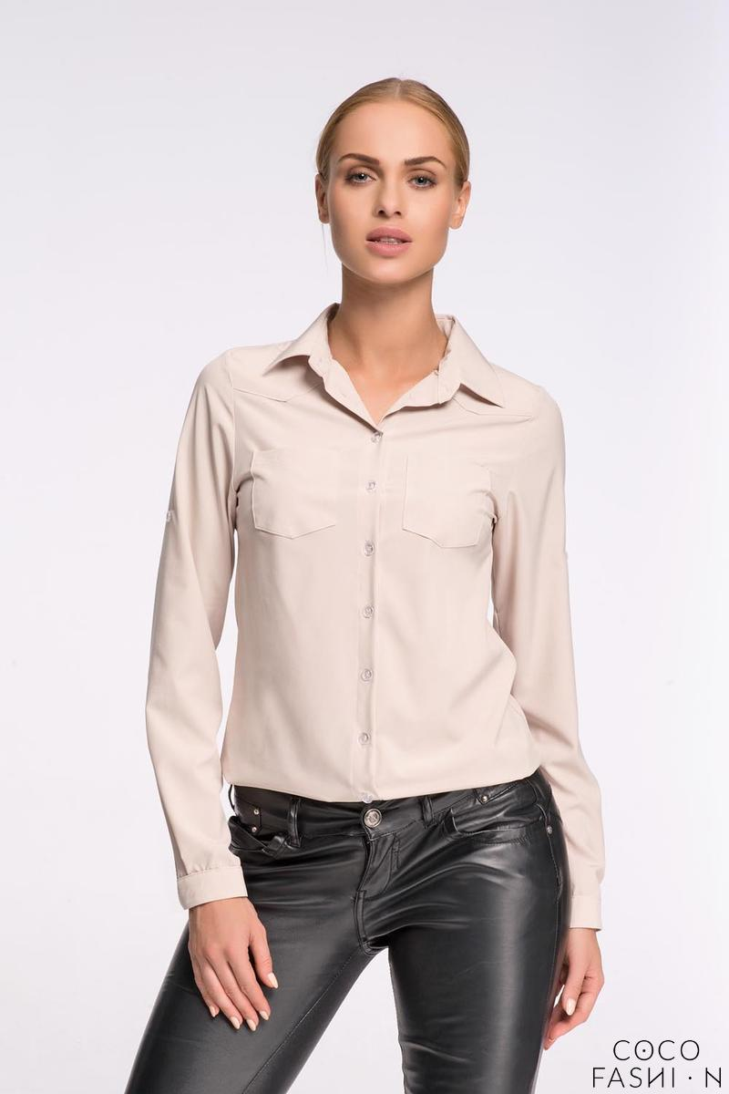 Beige Classic Shirt with Double Pockets от cocofashion