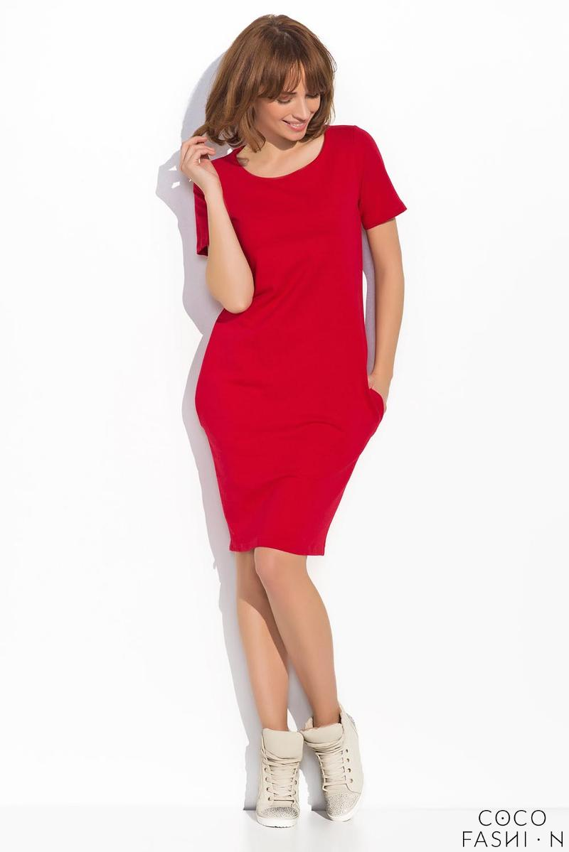 Red Classic Casual Dress with Pockets