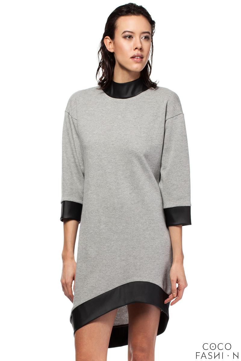 Grey Asymmetrical Flecked Dress with Cut Out Back от cocofashion