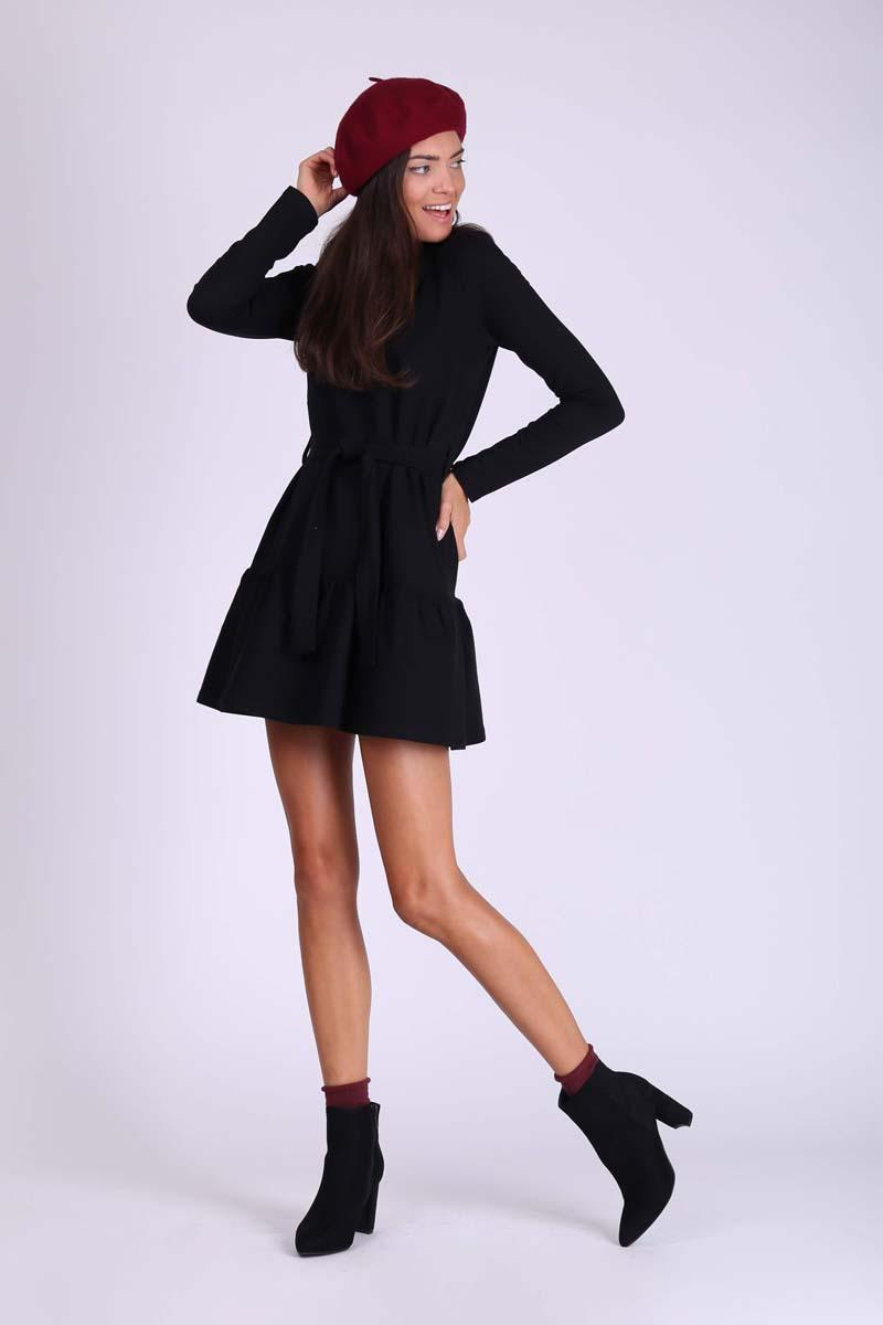 Black Short Girl Dress with Frill