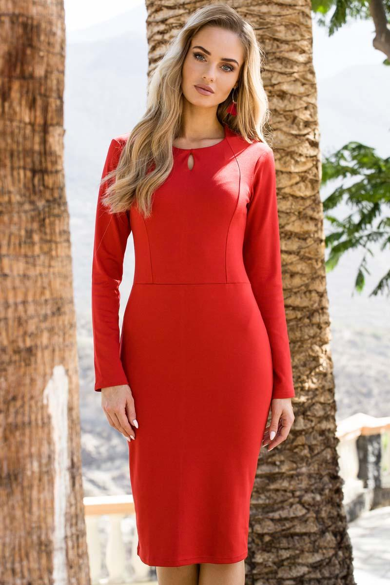 Red Pencil Slimming Dress