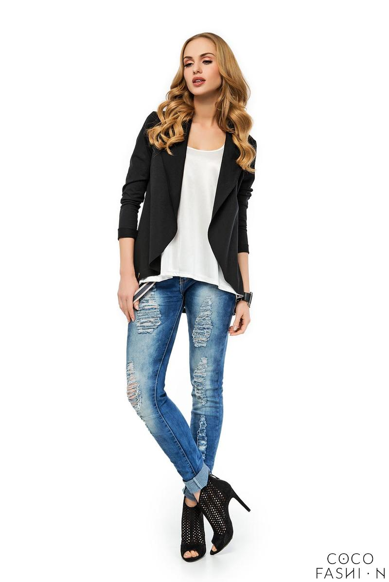 Black Stylish Loose Lapels Cardigan Blazer