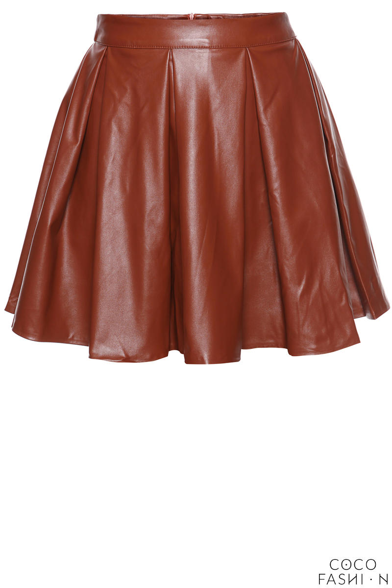 Leather Pleated Skirt with Back Seam Zip Fastening