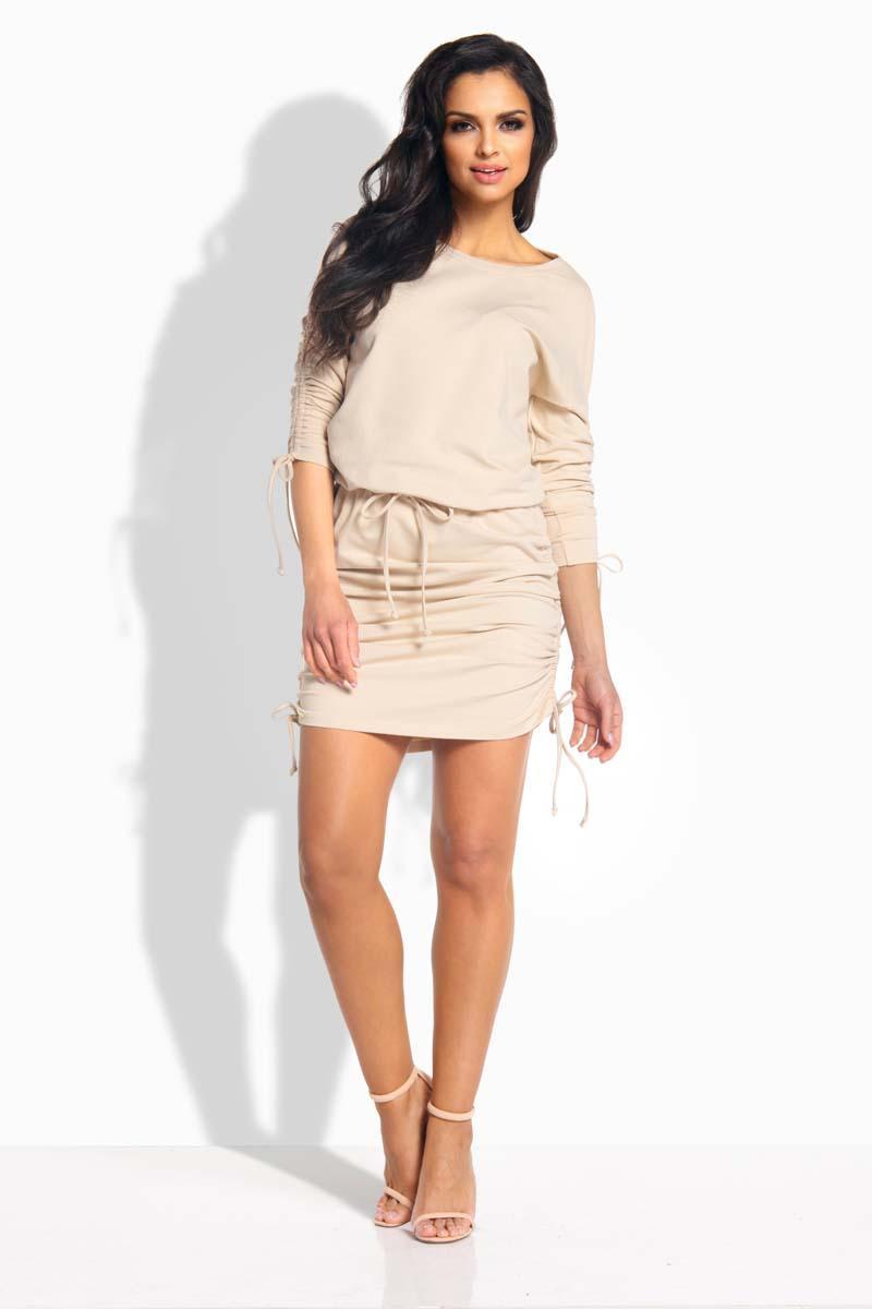 beige-drawstring-sport-style-dress
