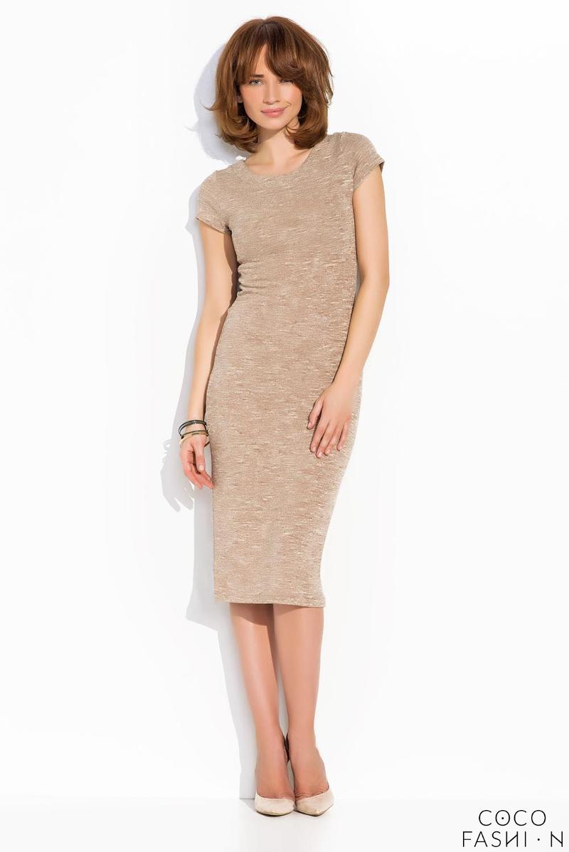 Beige Classic Simple Short Sleeves Midi Dress