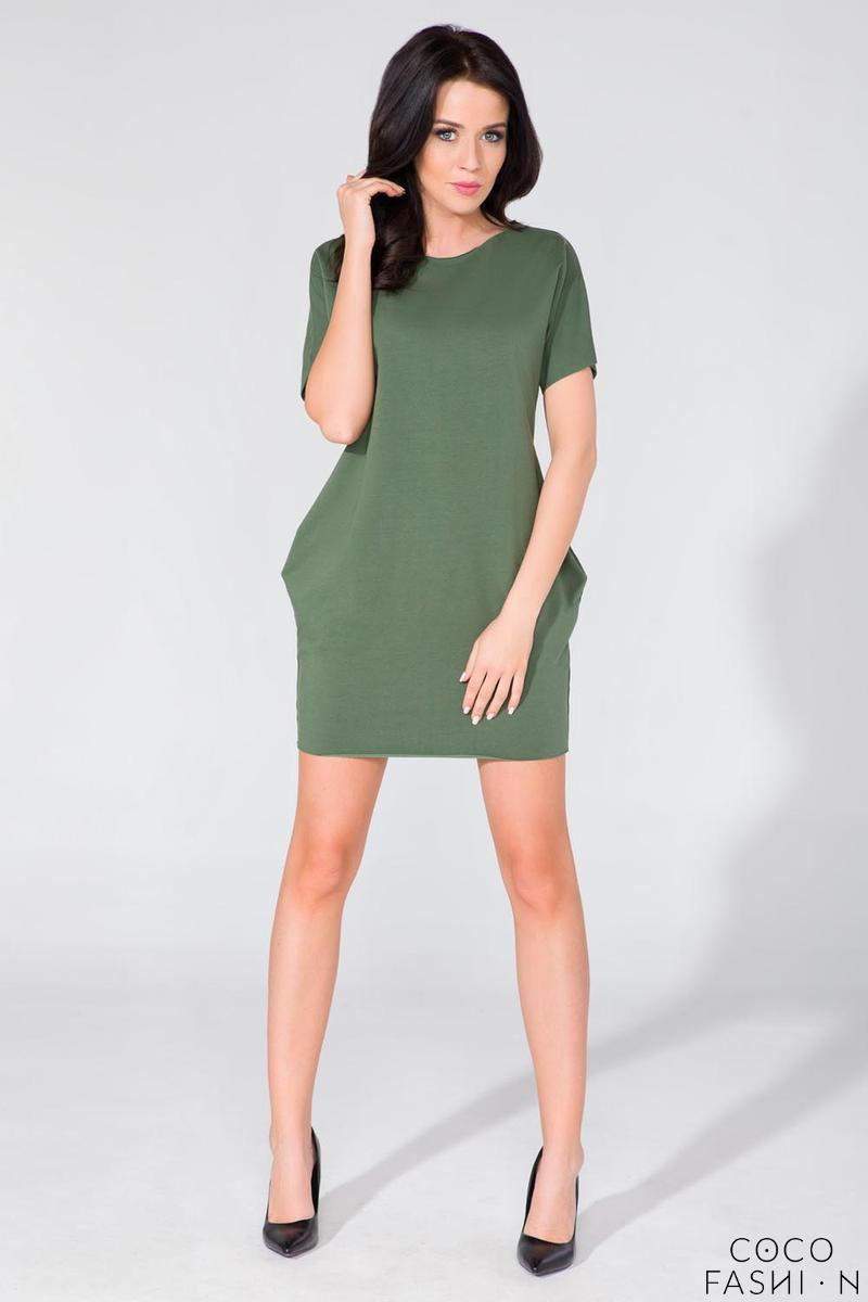 Khaki Simple Mini Dress with Side Pockets
