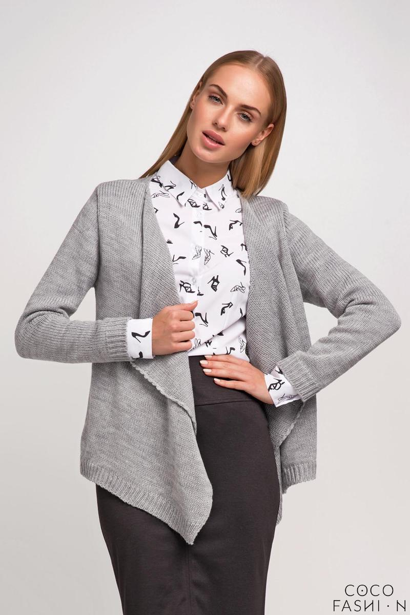 Grey Stylish Loose Lapels Cardigan