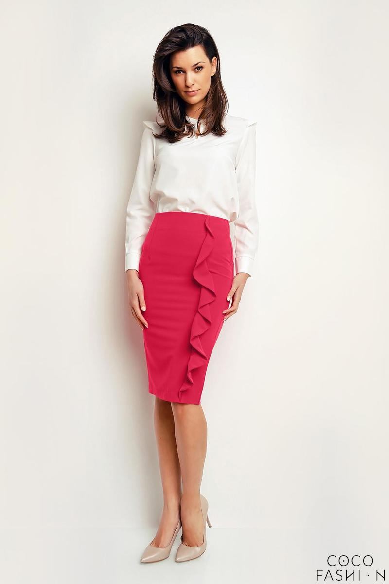 Pink Pencil Midi Skirt with a Frill