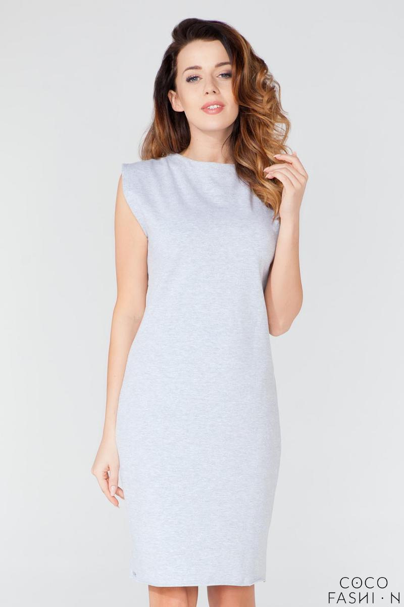 Light Grey Decorative Drawstring Knee Length Dress