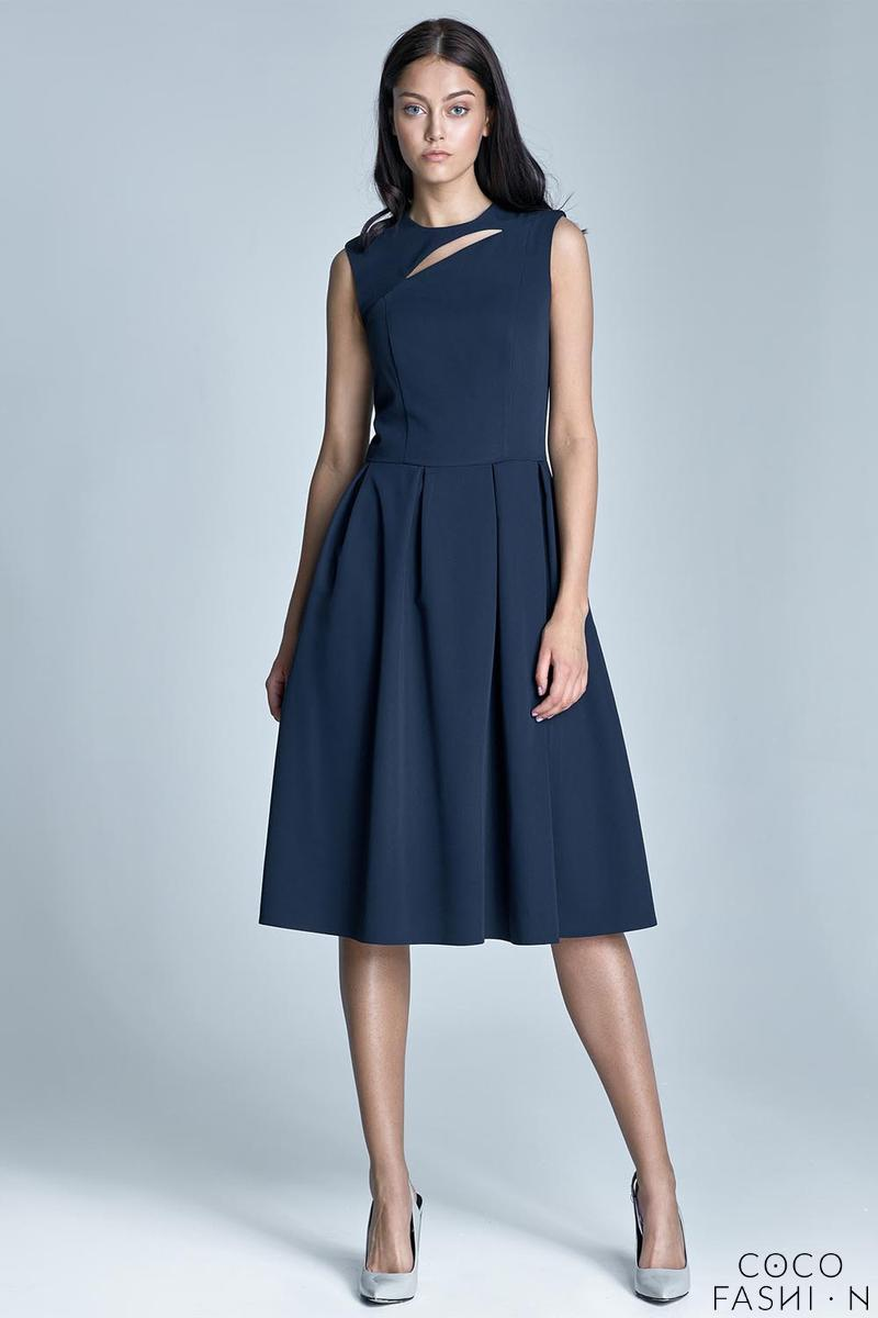 Dark Blue Sleeveless Flared Midi Dress