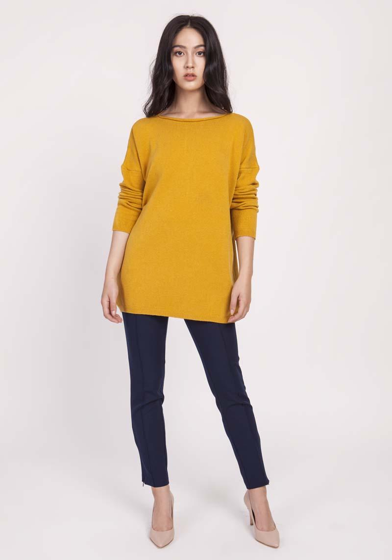 Mustard Loose Knit Blouse with Boat Neckline