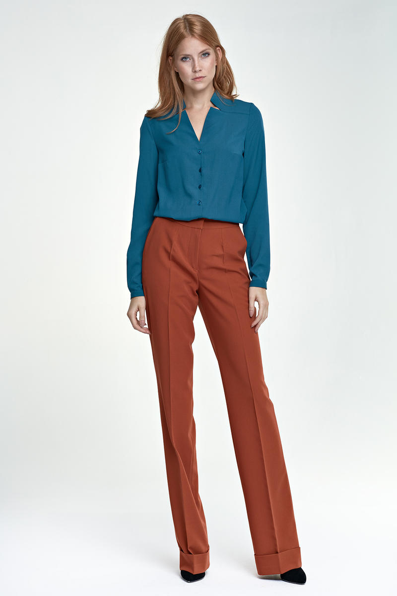 Brick Red Elegant Office Style Pants
