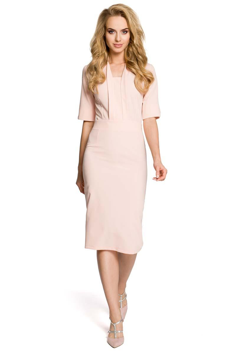 Light Pink Elegant Pencil Dress with Stylish Collar