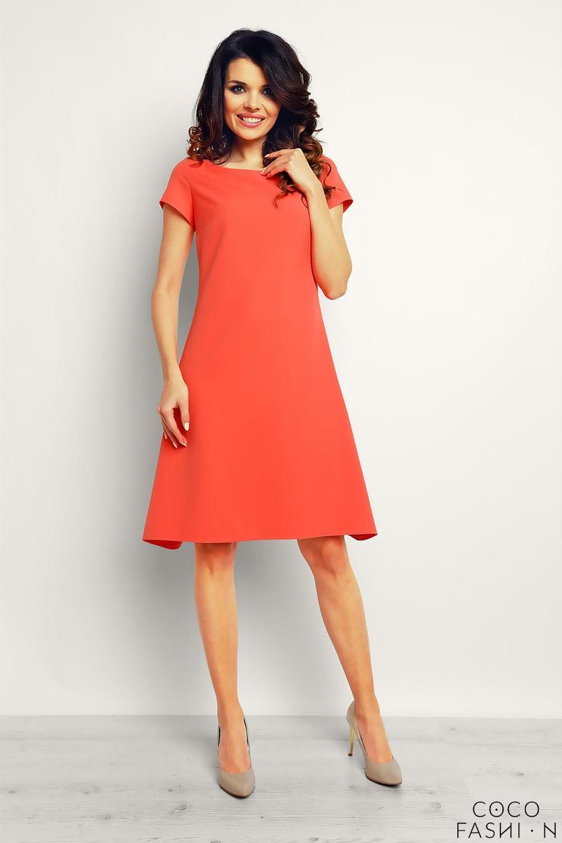 coral-flared-designe-knee-length-dress