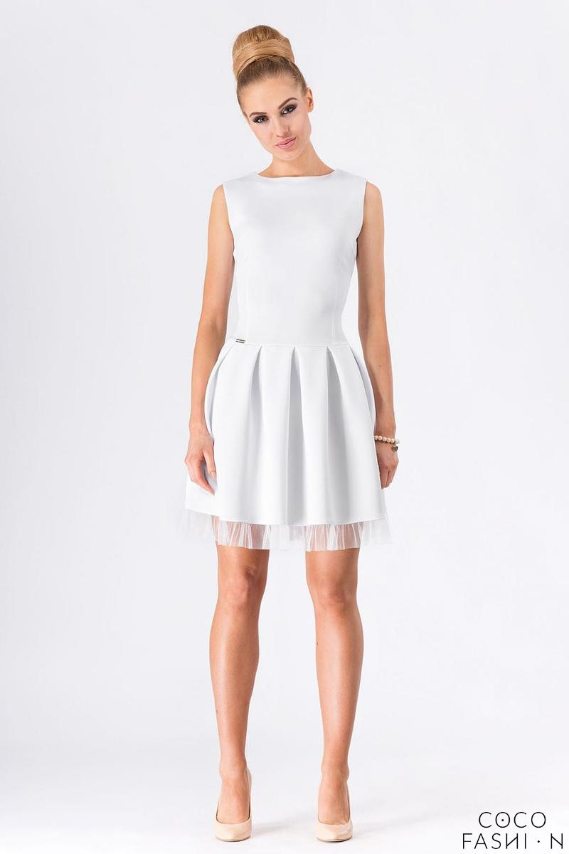 White Party Prom Mini Dress with Tulle Frill от cocofashion