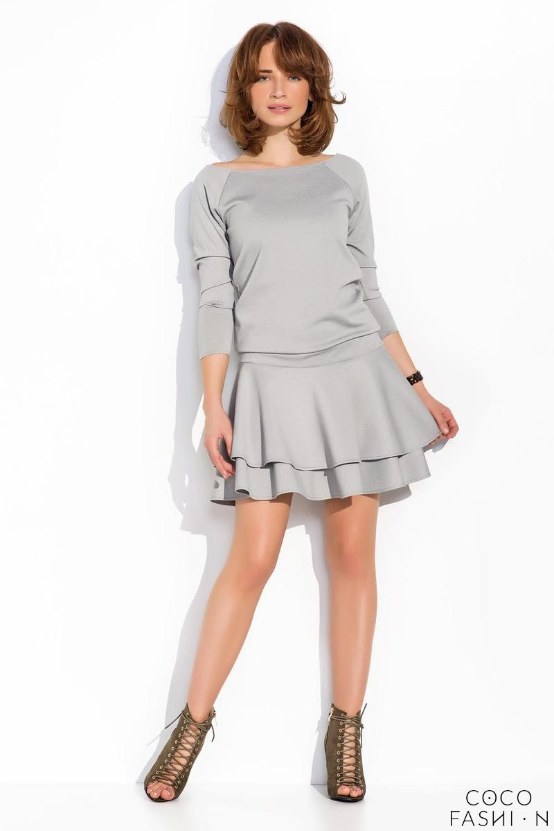 Grey Light Pleats Mini Casual Dress