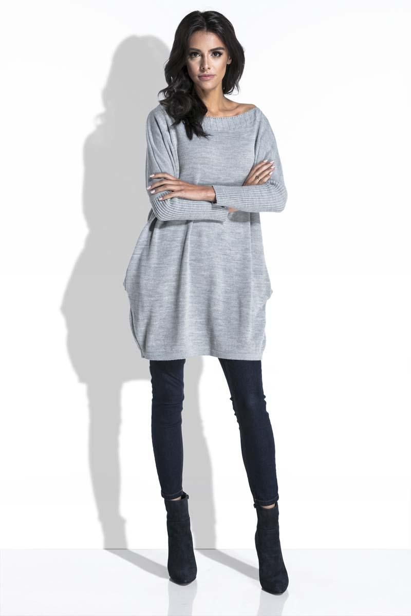 Grey Long Sweater with Pockets