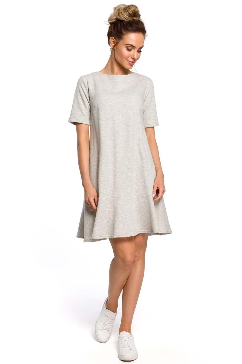 Light Gray Romantic Dress with Tying at the Neck of the Letter A