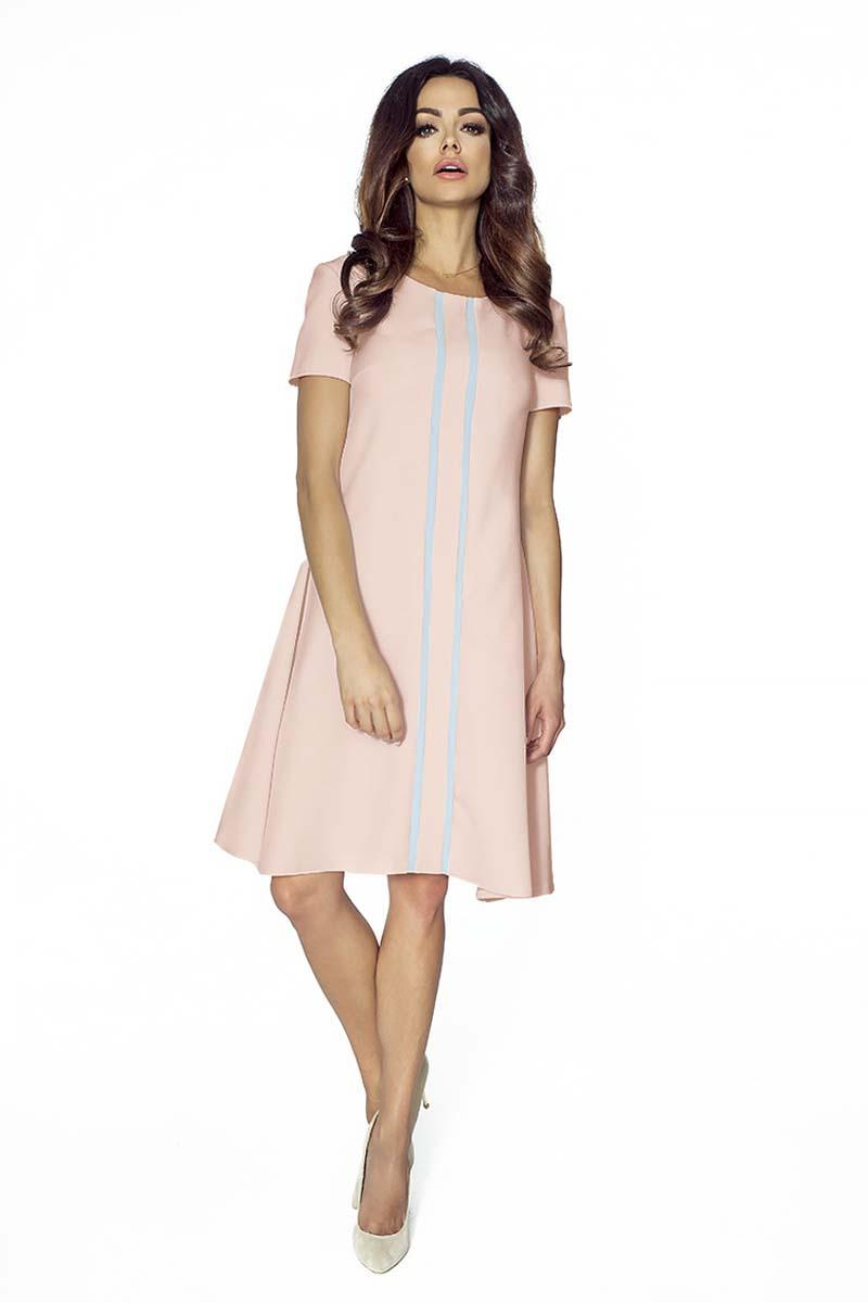 Pink Flared Dress with Contrasting Stripes