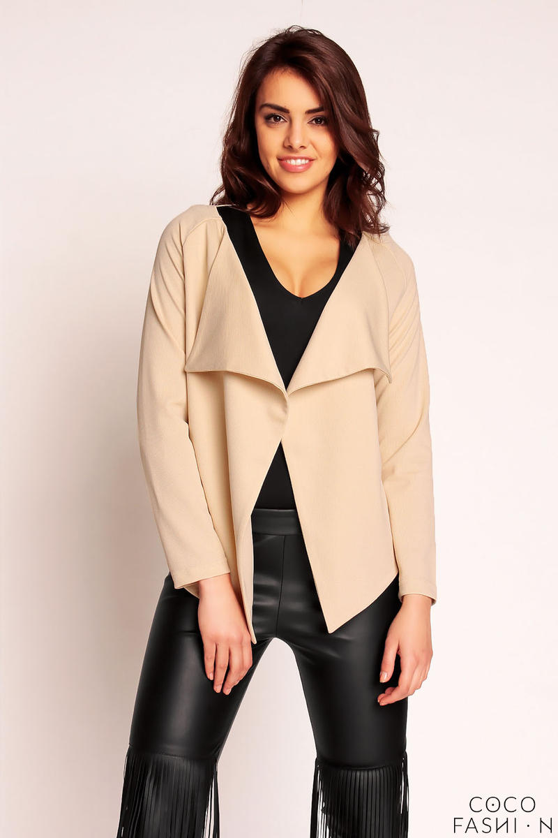 Beige Elongated Side Spring Cardi Jacket