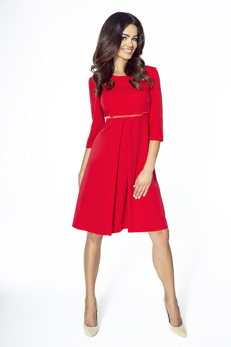Red Flared 3/4 Sleeves Coctail Dress
