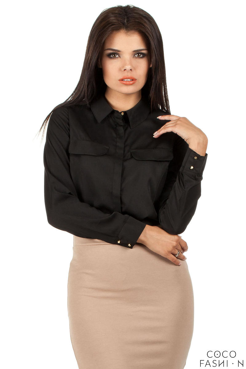 Black Silky Feel Appointment Blouse Shirt
