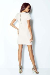 Pink Mini Trapezoid Dress with V Neckline