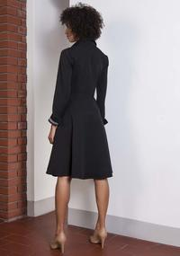 Black Midi Shirtdress With Collar