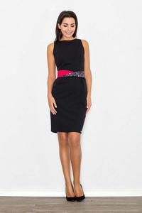 Black Pencil Coctail Dress with Sash