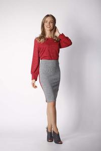 Dark Gray Straight Knitted Skirt with Stripe