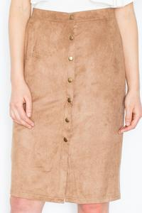 Brown Snaps Closure Pencil Skirt