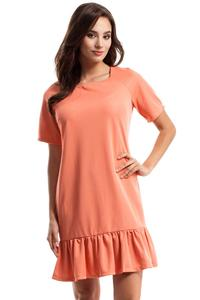Coral Flared Mini Dress with a Frill