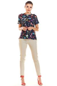 Navy Blue Short Blouse with Flowers with Vertical Flares