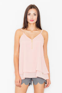 Pink Two Layers Spaghetti Straps Top