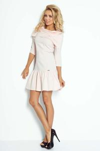 Light Pink Mini Dress with Frill and Wide Tourtleneck