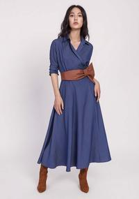 Flared denim dress with an envelope neckline
