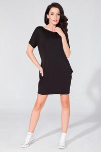 Black Simple Mini Dress with Side Pockets