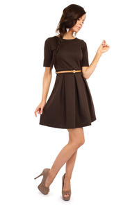 Brown Magnanimous Modern Belted Tea-length Dress