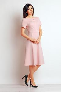 Powder Pink Short Sleeves Flared Midi Dress
