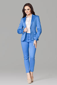 Petite Peak Blue Collar Blazer with Single Button Fastening