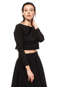 Black Cropped Blouse with Bateau Neckline and Side Zipper