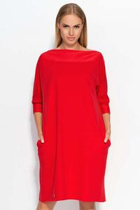 Red Oversized Casual Dress with Side Pockets