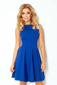Cornflower Blue Sleeveless Coctail Dress with Light Pleats