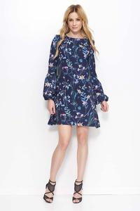 Navy Blue Floral Pattern Flared Dress